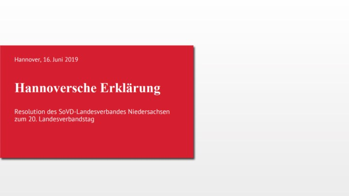 """""""Hannoversche Erklärung"""": SoVD formuliert Forderungen an Politik"""