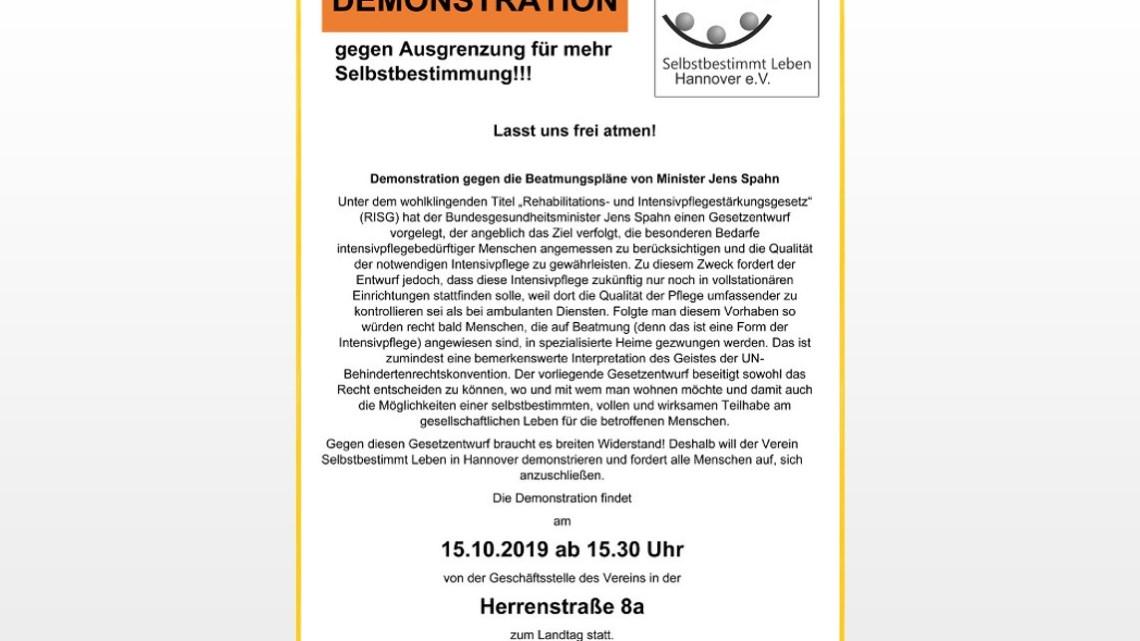 Lasst uns frei atmen! Demonstration gegen die Beatmungspläne von Minister Jens Spahn am 15.10.2019
