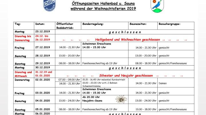 Ferienöffnungszeiten Hallenbad Duingen