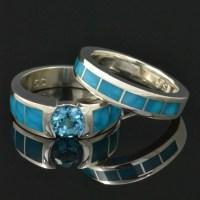 Topaz and turquoise wedding ring set