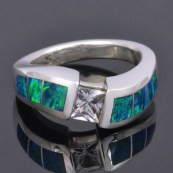 CS003 white sapphire ring with lab created opal 1cropped