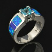 Paraiba blue topaz engagement ring with lab opal and lapis inlaid in sterling silver by Hileman Silver Jewelry.