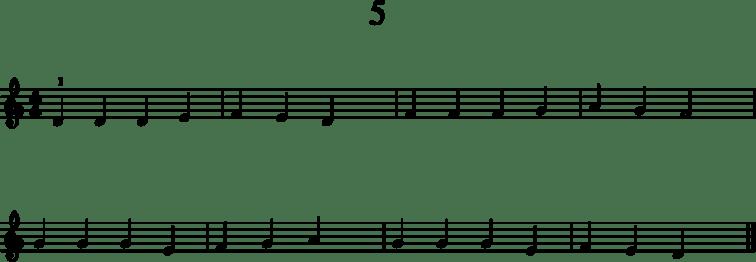 Alkeistason pianonuotteja: 5