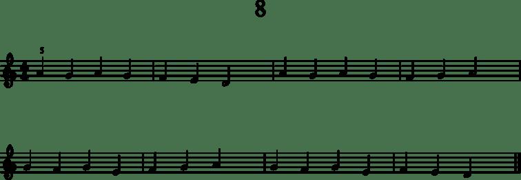 Alkeistason pianonuotteja: 8