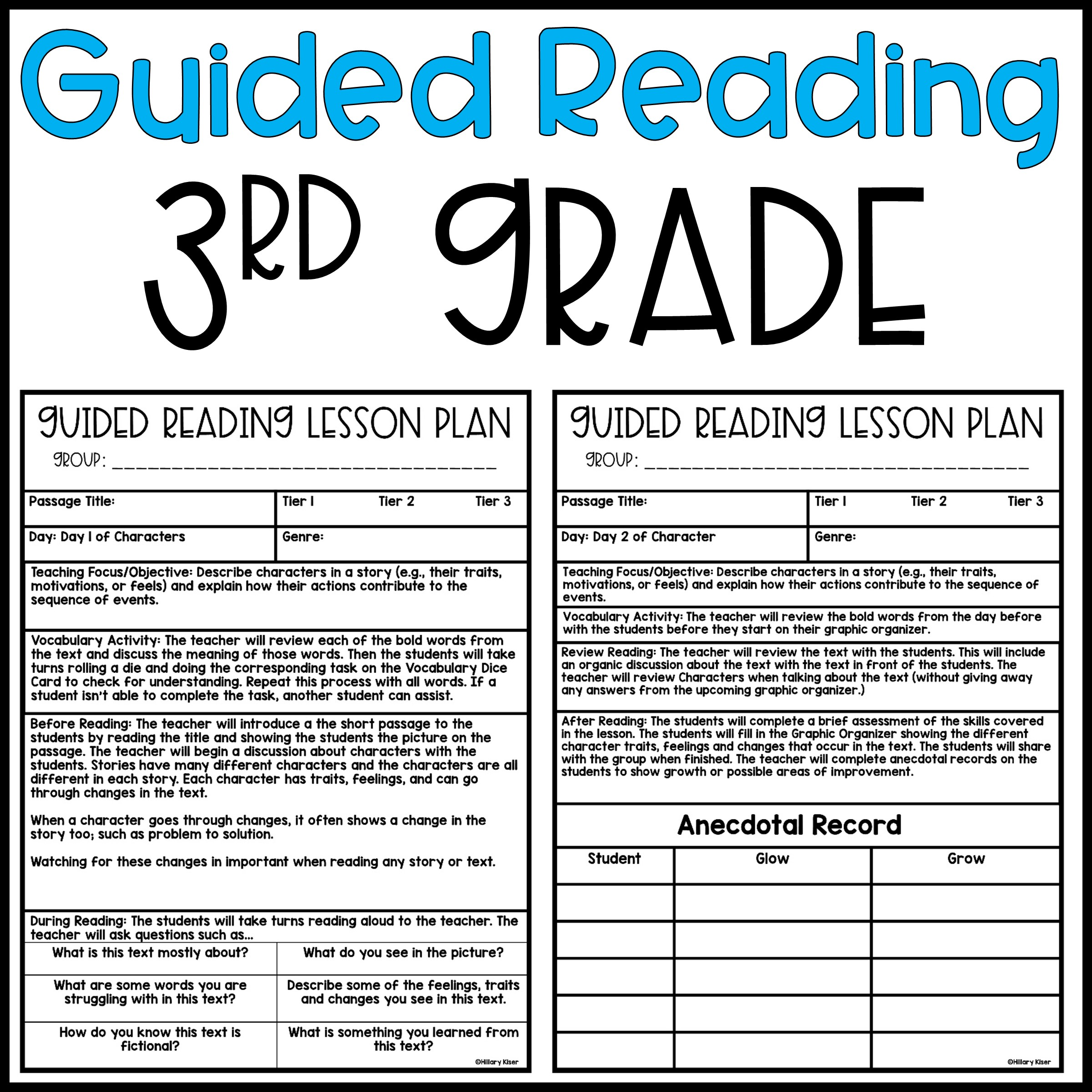 Guided Reading Lesson Plans: 3rd Grade - Hillary's Teaching Adventures [ 2400 x 2400 Pixel ]