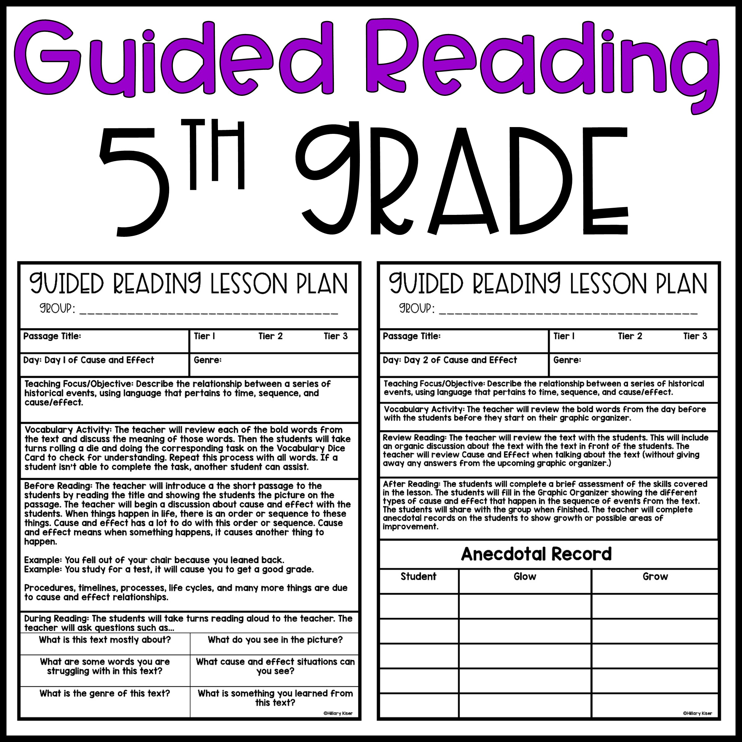 Guided Reading Lesson Plans: 5th Grade - Hillary's Teaching Adventures [ 2400 x 2400 Pixel ]