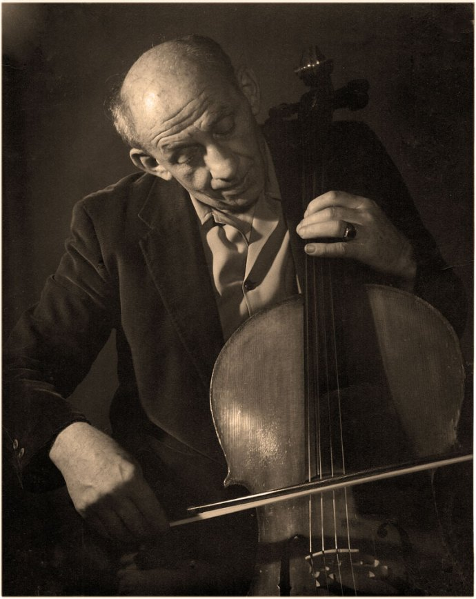 William Redner, my grandfather, poses with a cello