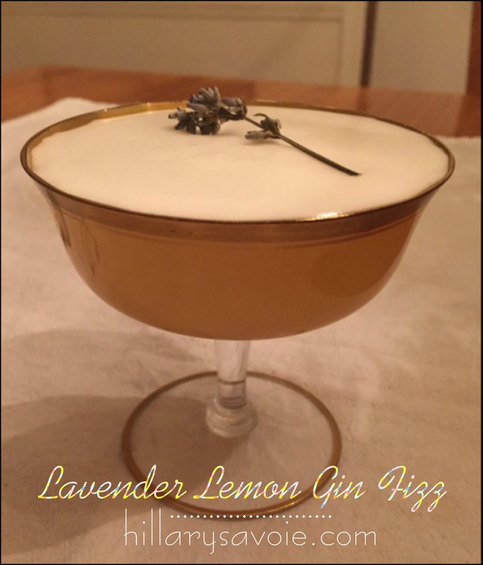 Lavender Lemon Gin Fizz Cocktail with egg white foam