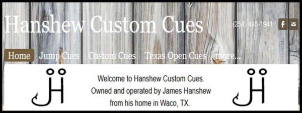 Sponsors Hanshew Custom Cues
