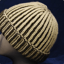 Ribbed hat in tan and brown