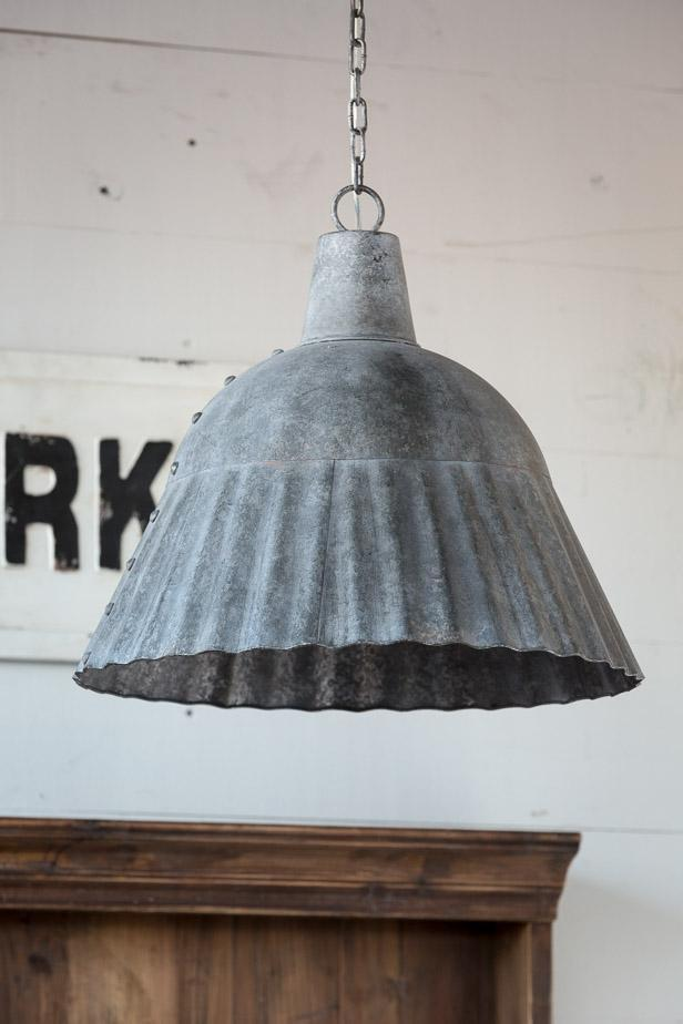 fluted galvanized pendant light fixture