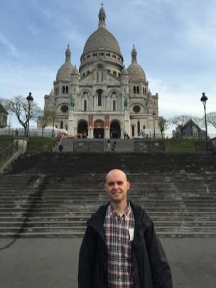 On the steps leading to La Basilique du Sacré Cœur de Montmartre