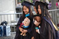 Saw many graduates getting photos with stuffed animals