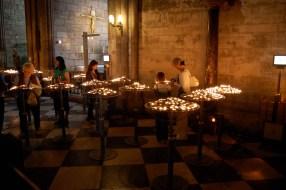 Candles inside Notre Dame de Paris