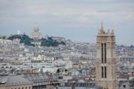 Sacre Coeur on the left, Tour Saint-Jacques on the left