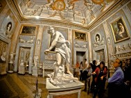 1622 statue of David with sling by Bernini - Borghese Gallery - Rome, Italy