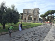 In front of the Arch of Constantine - next to Colosseum