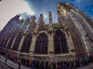 The line to climb the Notre Dame tower