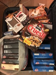 My stash of Cruesli - brought an extra suitcase for this.