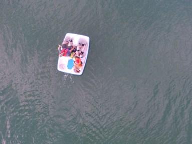 Drone photo of paddle boat