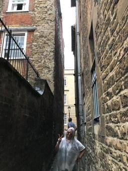 Ponchoed tourist