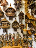 Cuckoo clocks and beer steins in Munich tourist shop