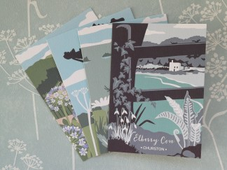Selection of A6 greetings cards by Hillfok illustration, featuring views in Devon and Cornwall