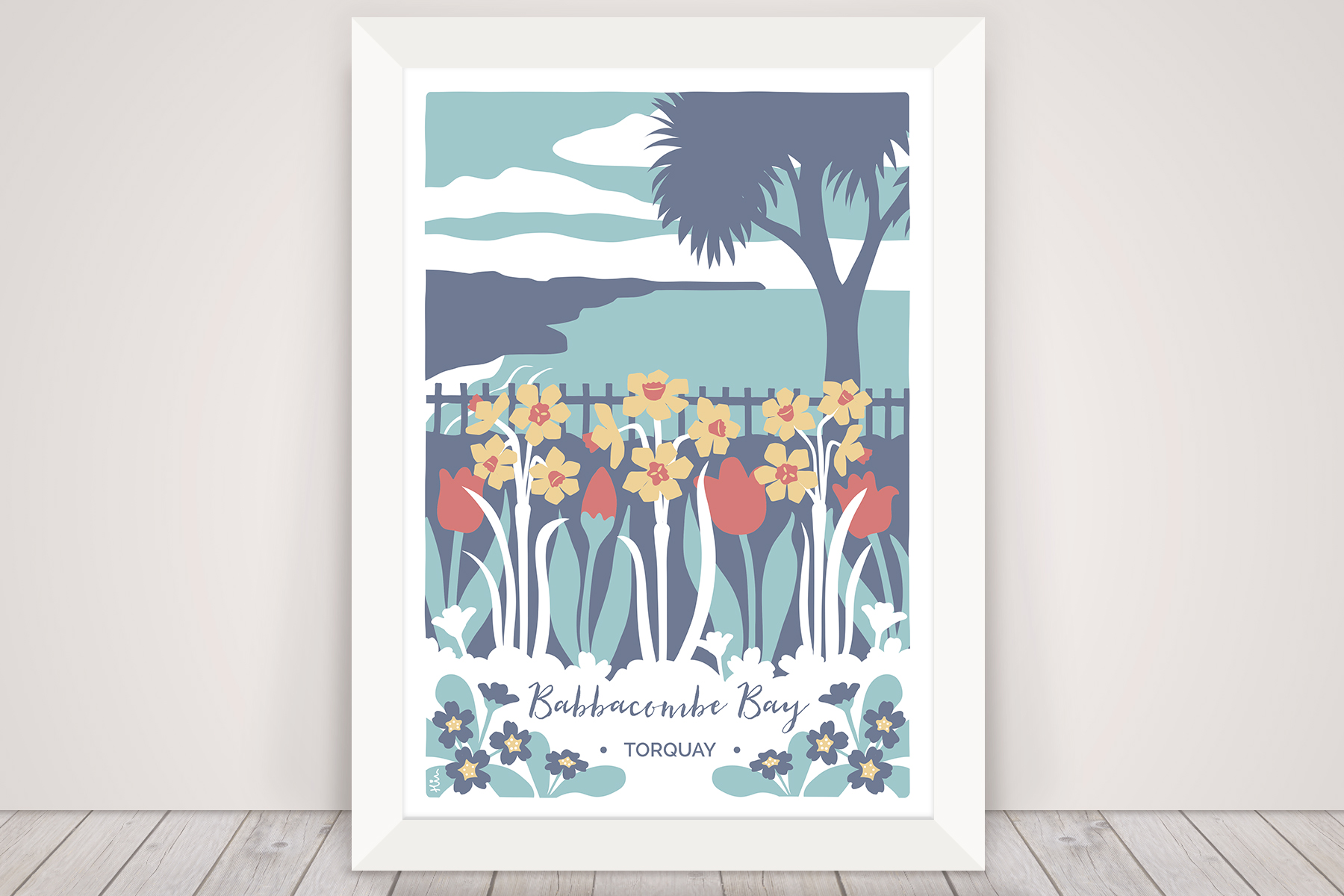 Digital illustration of Babbaombe in Torquay. Coastal scene with palm tree, tulips and daffodils