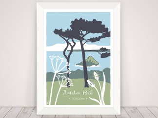 Digital illustration of Thatcher Rock in Torquay, Devon. Coastal print with trees and wildflowers