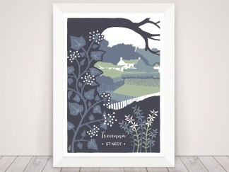 Digital illustration of Trevenna Farm in St Neot Cornwall. Pictured in winter with ivy and heather