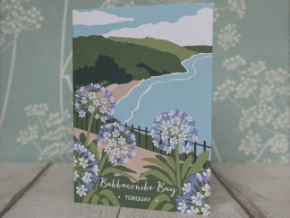 A6 greetings card, featuring Babbacombe Bay in Torquay, Devon