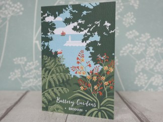 A6 greetings card, featuring battery gardens in Brixham, devon