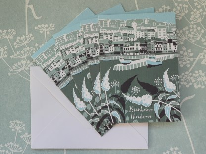 pack of 4 greetings cards featuring brixham harbour in Devon