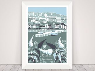 Digital illustration of Brixham harbour, Devon. Coastal art with buddleia and ivy in greens and blues