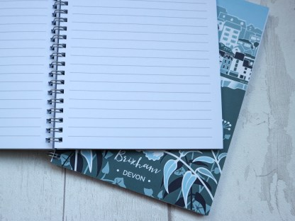 A5 wire bound notebook featuring illustration of Brixham, Devon by artist Beth Hill