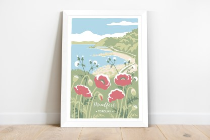 framed print of meadfoot beach illustration with poppies and sow thistle