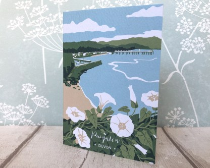 A6 blank greetings card featuring Paignton in Devon, with wildflowers