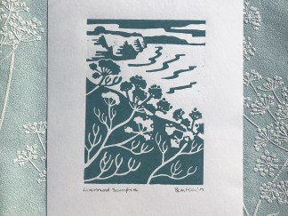 hand pulled lino print featuring rock samphire at Livermead in Torquay, Devon