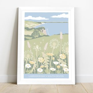 illustration of Labrador Bay in South Devon with meadow flowers and white frame