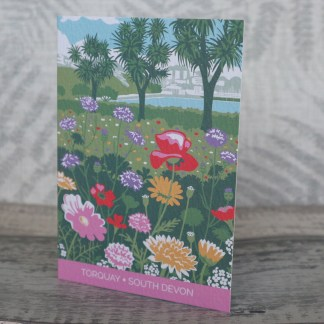 greetings card of the Italian Gardens in Torquay, Devon