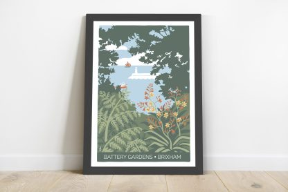 print with black frame - battery gardens in brixham