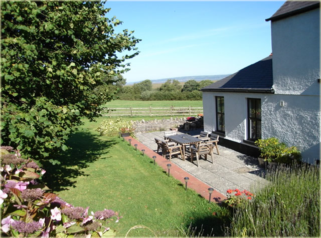 Gower self catering holiday cottage sun terrace looking to the east