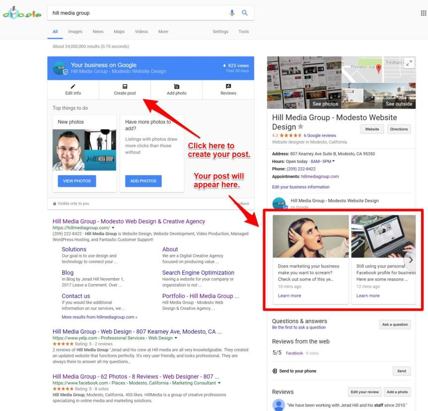 Create Post to Google My Business Listing from Search Result
