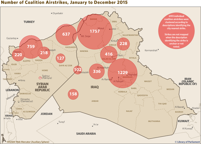 Cropped map of the Middle East showing coalition airstrikes, from January to December 2015.
