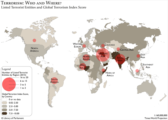 Map of the world showing listed terrorism entities and global terrorism index score