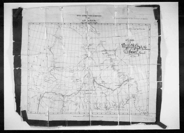 Source: Library and Archives Canada (Boundary of the Province of Quebec - Min. Int. [Minister of the Interior] submits Dy. [Deputy] Minister defining), Order in Council No. 1896-2623)
