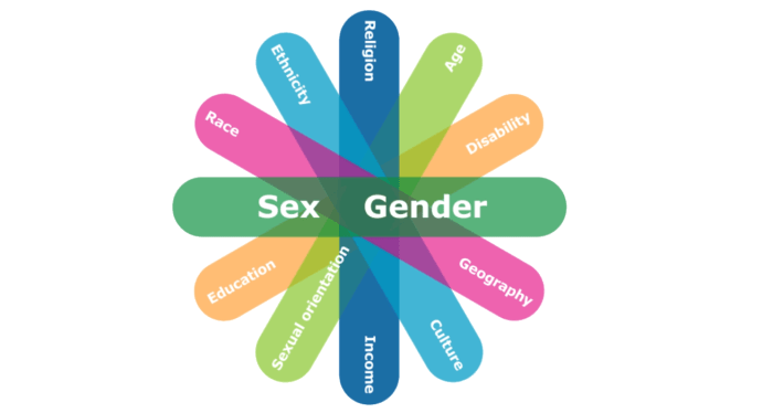 "This figure illustrates some of the factors which can intersect with sex and gender. Six oblong shapes of differing colors overlap and fan out. Each oblong has two identity factors written on it. The top oblong has ""sex and gender"" written in a larger font. Starting below sex and gender and going clockwise, the additional identities identified are: geography, culture, income, sexual orientation, education, ethnicity, ability, age, religion and language."