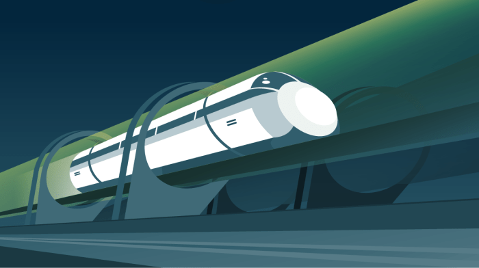 This illustration shows a Hyperloop elevated on pylons.