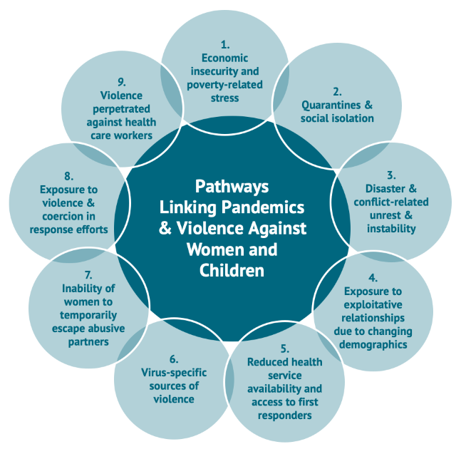 Figure 1 highlights nine pathways linking pandemics and violence against women and children: 1. Economic insecurity and poverty-related stress; 2. Quarantines and social isolation; 3. Disaster and conflict-related unrest and instability; 4. Exposure to exploitative relationships due to changing demographics; 5. Reduced health service availability and access to first responders; 6. Virus-specific sources of violence; 7. Inability of women to temporarily escape abusive partners; 8. Exposure to violence and coercion in response efforts; 9. Violence perpetrated against health care workers.