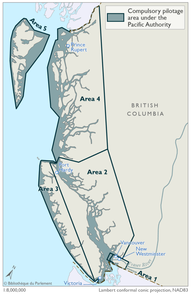 This map illustrates the compulsory pilotage areas under the Pacific Pilotage Authority as defined by the Pilotage Act. The compulsory pilotage areas are in the Canadian waters in and around the province of British Columbia. Under the Pacific Pilotage Authority there are five designated compulsory pilotage areas. They are identified on the map by a zone with dark blue outline and a blue fill.